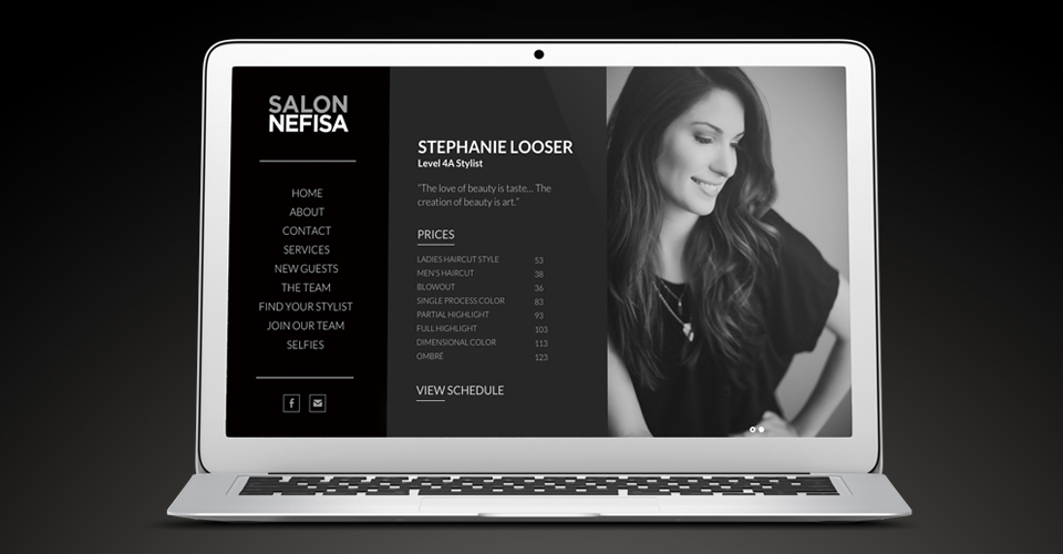 website design for salon nefisa in columbia, missouri