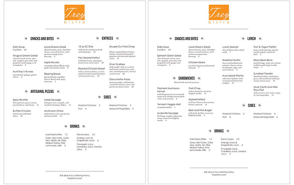 print design of menu