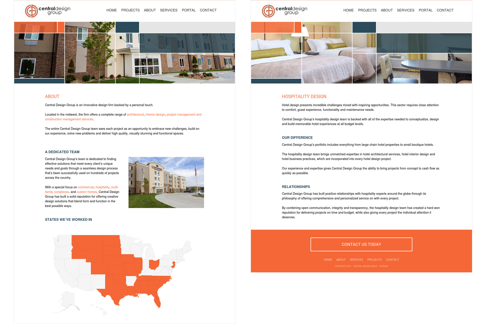 website design for hospitality construction